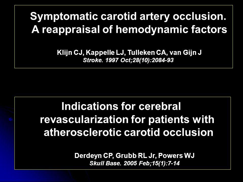 Symptomatic carotid artery occlusion. A reappraisal of hemodynamic factors Klijn CJ, Kappelle LJ, Tulleken CA, van Gijn J Stroke. 1997 Oct;28(10):2084