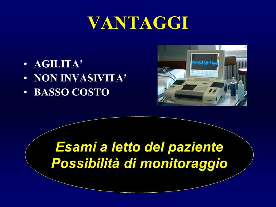 VANTAGGI AGILITA NON INVASIVITA BASSO COSTO Esami a letto del paziente Possibilità di monitoraggio