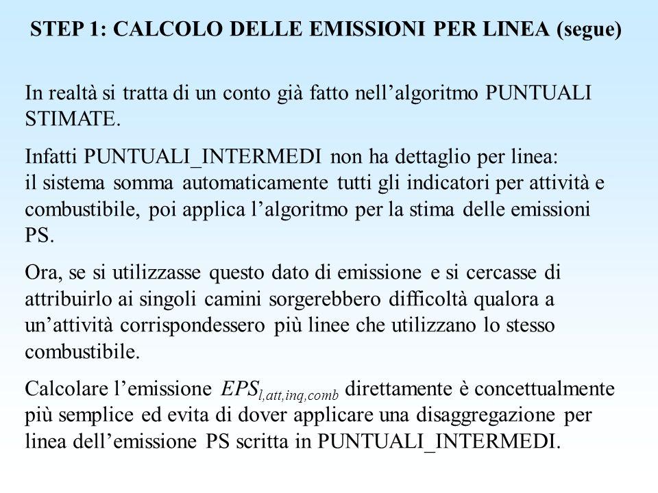 STEP 2: ATTRIBUZIONE DELLE EMISSIONI AL CAMINO È necessario ora attribuire questa emissione EPS l,att,inq,comb al camino o ai camini nel caso che le emissioni di una linea fossero collegate a più camini, o quelle di più linee convogliate in un unico camino (informazione contenuta da P_LINEA_CAMINO).