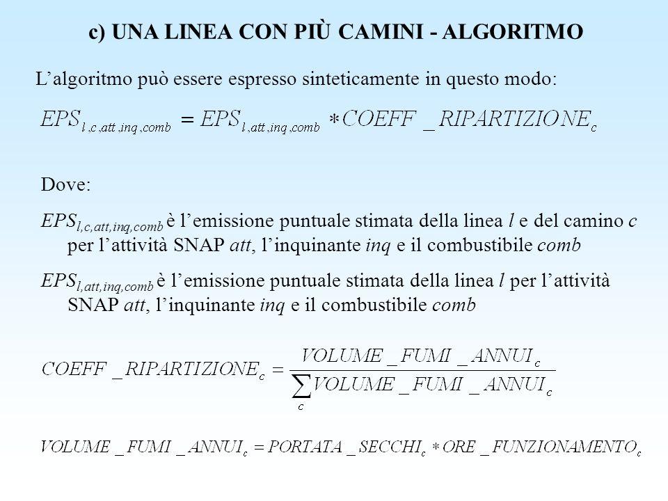 c) UNA LINEA CON PIÙ CAMINI - ALGORITMO Lalgoritmo può essere espresso sinteticamente in questo modo: Dove: EPS l,c,att,inq,comb è lemissione puntuale
