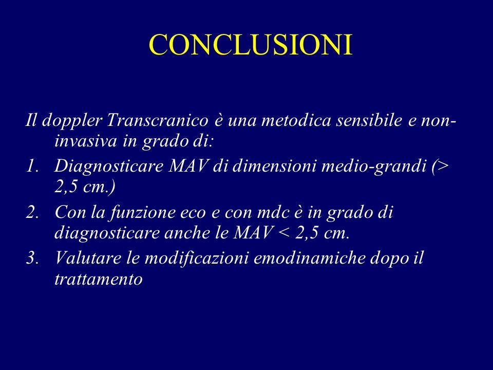 CONCLUSIONI Il doppler Transcranico è una metodica sensibile e non- invasiva in grado di: 1.Diagnosticare MAV di dimensioni medio-grandi (> 2,5 cm.) 2