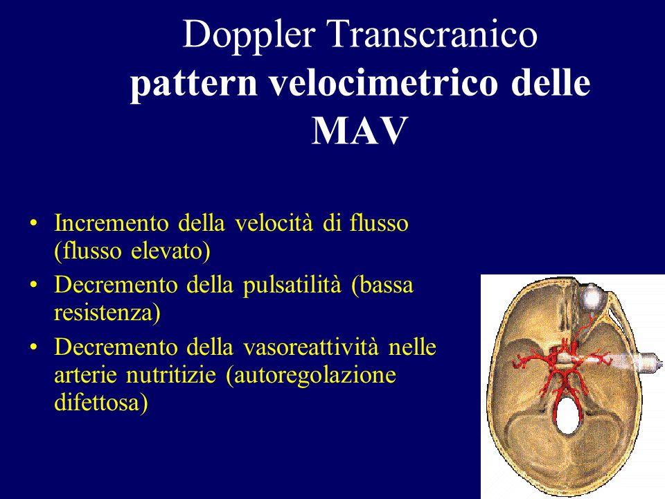 Doppler Transcranico pattern velocimetrico delle MAV Incremento della velocità di flusso (flusso elevato) Decremento della pulsatilità (bassa resisten