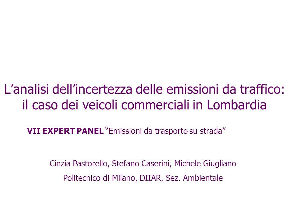Lanalisi dellincertezza delle emissioni da traffico: il caso dei veicoli commerciali in Lombardia VII EXPERT PANEL Emissioni da trasporto su strada Ci