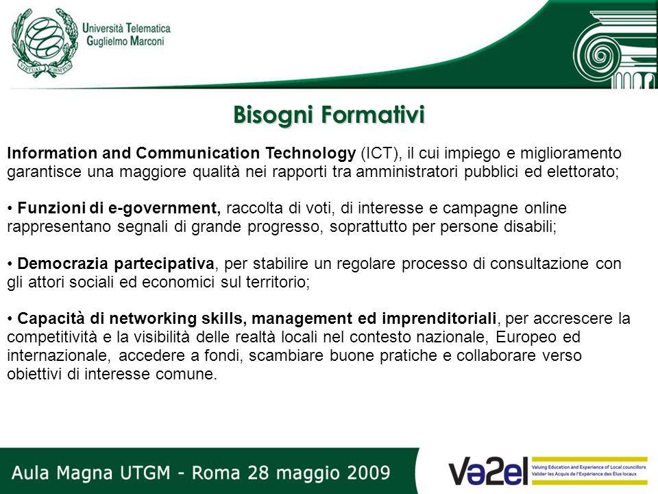 Bisogni Formativi Information and Communication Technology (ICT), il cui impiego e miglioramento garantisce una maggiore qualità nei rapporti tra ammi