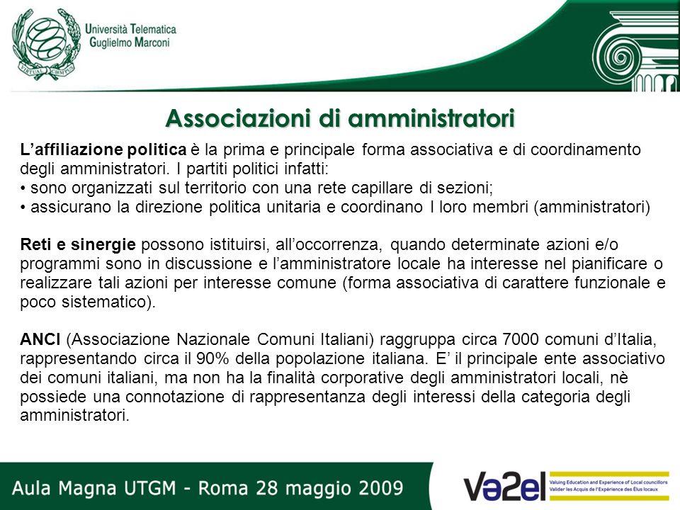 Associazioni di amministratori Laffiliazione politica è la prima e principale forma associativa e di coordinamento degli amministratori. I partiti pol