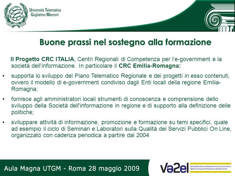 Buone prassi nel sostegno alla formazione Il Progetto CRC ITALIA, Centri Regionali di Competenza per le-government e la società dellinformazione. In p