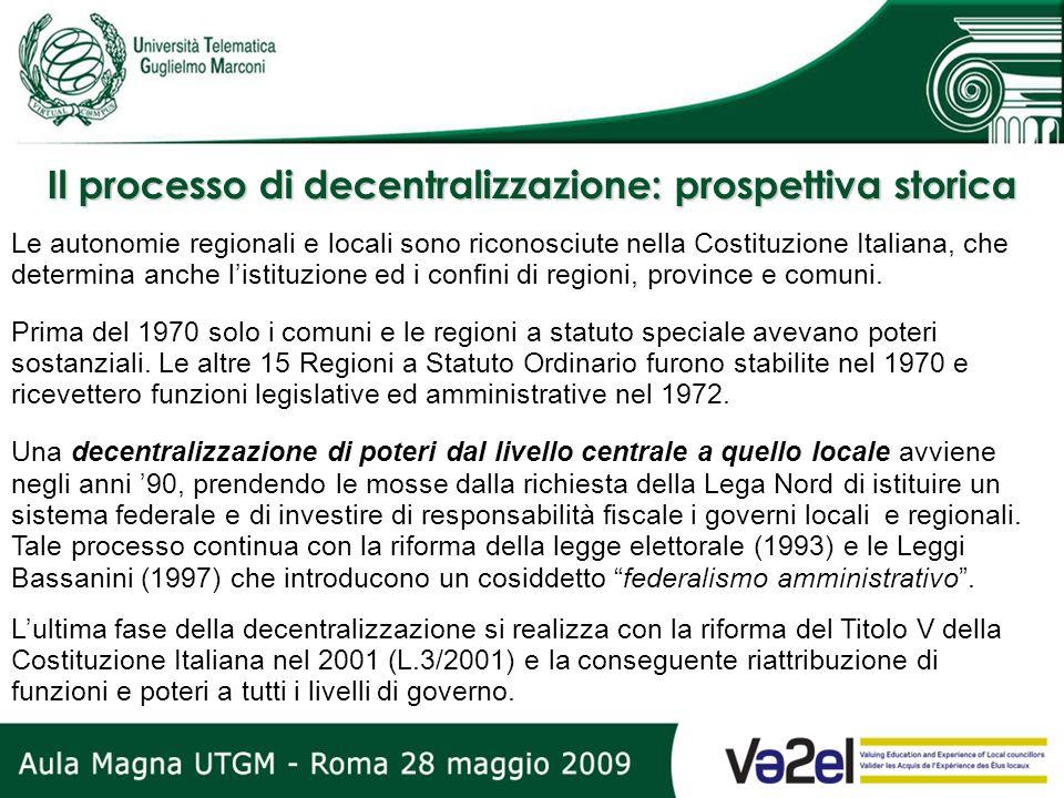 Il processo di decentralizzazione: prospettiva storica Le autonomie regionali e locali sono riconosciute nella Costituzione Italiana, che determina an
