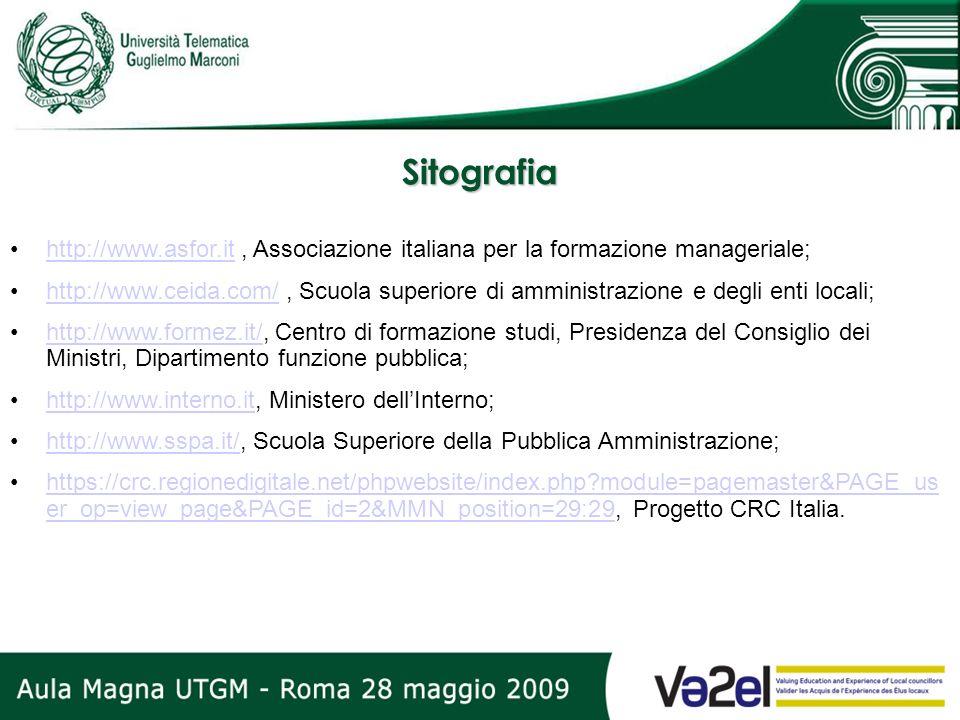 Sitografia http://www.asfor.it, Associazione italiana per la formazione manageriale;http://www.asfor.it http://www.ceida.com/, Scuola superiore di amm