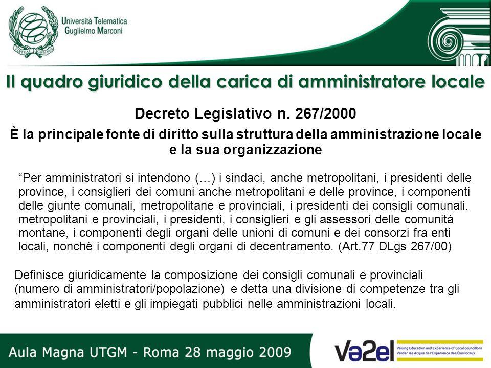 Il quadro giuridico della carica di amministratore locale Definisce giuridicamente la composizione dei consigli comunali e provinciali (numero di ammi