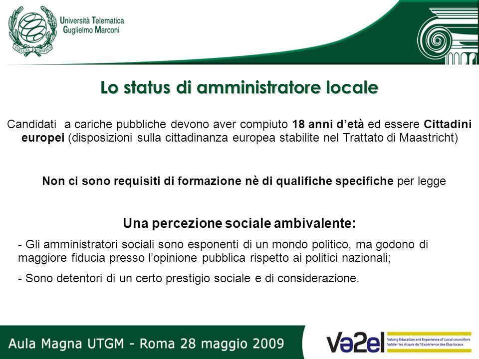 Lo status di amministratore locale Candidati a cariche pubbliche devono aver compiuto 18 anni detà ed essere Cittadini europei (disposizioni sulla cit