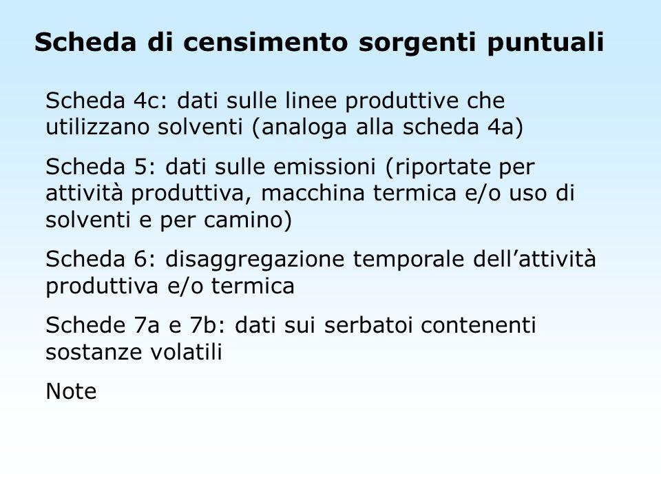 Scheda di censimento sorgenti puntuali Scheda 4c: dati sulle linee produttive che utilizzano solventi (analoga alla scheda 4a) Scheda 5: dati sulle em