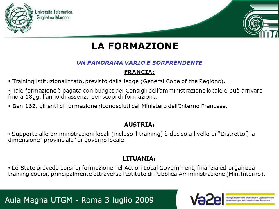 LA FORMAZIONE UN PANORAMA VARIO E SORPRENDENTE FRANCIA: Training istituzionalizzato, previsto dalla legge (General Code of the Regions). Tale formazio