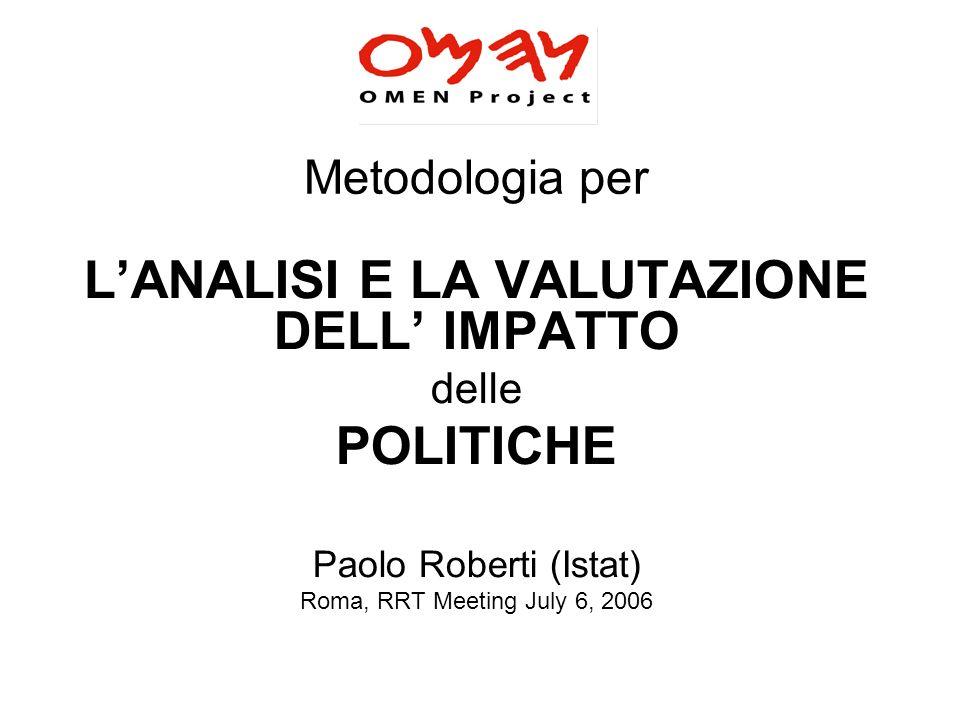 Metodologia per LANALISI E LA VALUTAZIONE DELL IMPATTO delle POLITICHE Paolo Roberti (Istat) Roma, RRT Meeting July 6, 2006