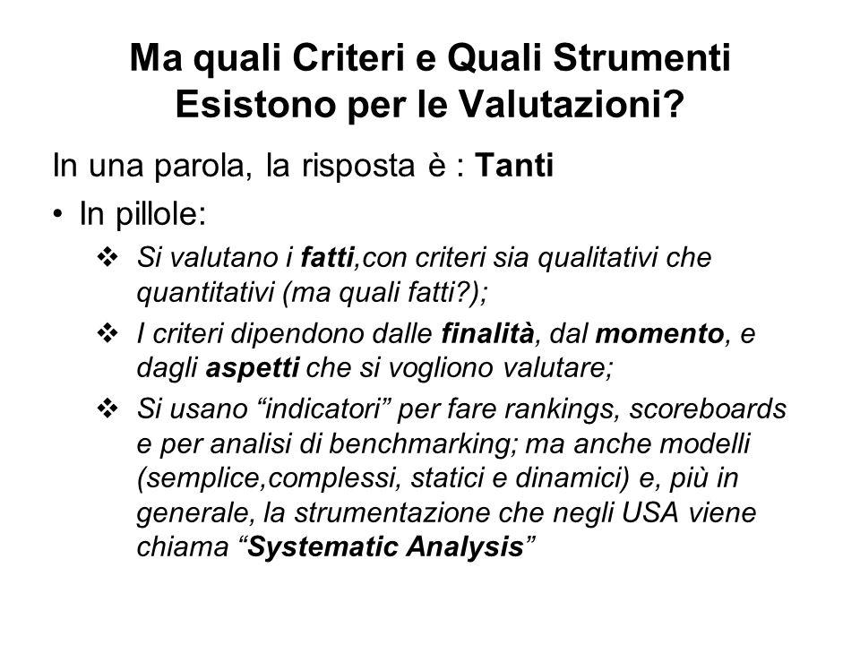 Ma quali Criteri e Quali Strumenti Esistono per le Valutazioni? In una parola, la risposta è : Tanti In pillole: Si valutano i fatti,con criteri sia q