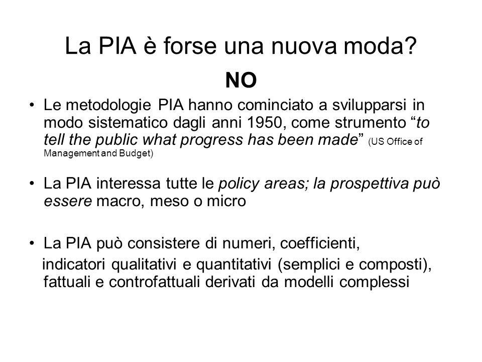 La PIA è forse una nuova moda? NO Le metodologie PIA hanno cominciato a svilupparsi in modo sistematico dagli anni 1950, come strumento to tell the pu