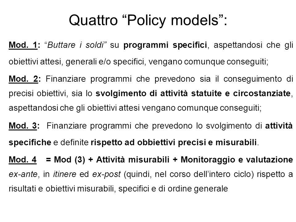 Quattro Policy models: Mod. 1: Buttare i soldi su programmi specifici, aspettandosi che gli obiettivi attesi, generali e/o specifici, vengano comunque