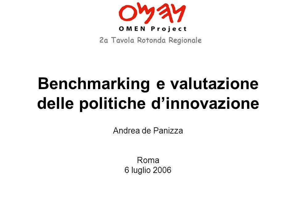 Benchmarking e valutazione delle politiche dinnovazione Andrea de Panizza Roma 6 luglio 2006 2a Tavola Rotonda Regionale