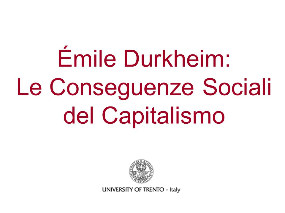 La Divisione del Lavoro III Secondo Durkheim, lintegrazione sociale o la solidarietà nelle società moderna non è basata semplicemente su relazioni contrattuali fra individui ma presuppone una dedicazione morale generale.