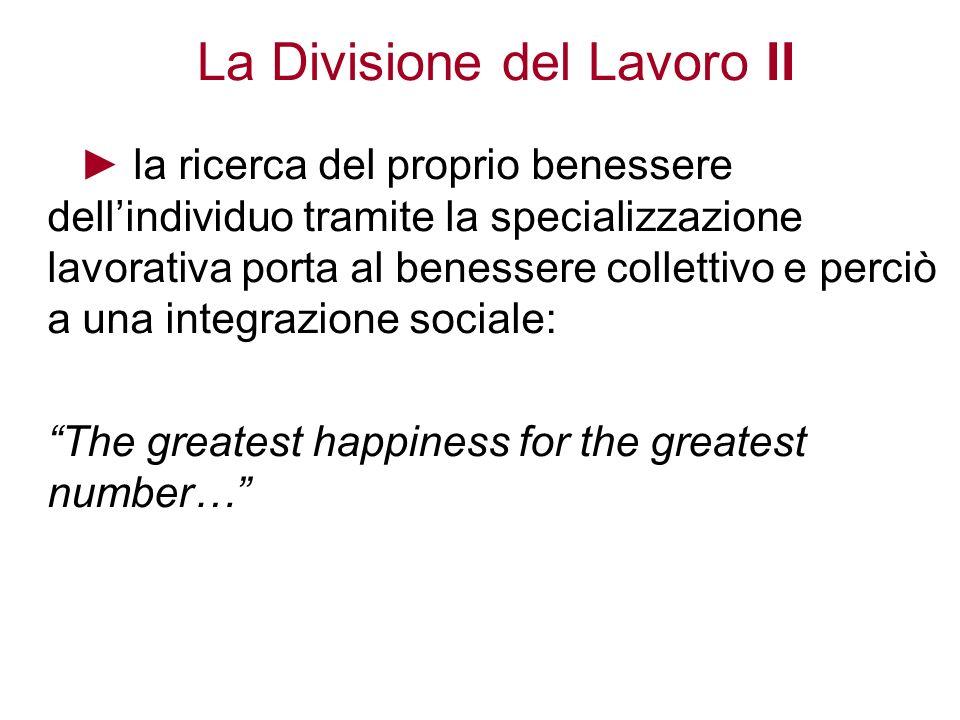 La Divisione del Lavoro II la ricerca del proprio benessere dellindividuo tramite la specializzazione lavorativa porta al benessere collettivo e perci