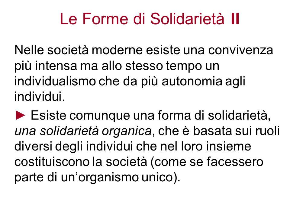 Le Forme di Solidarietà II Nelle società moderne esiste una convivenza più intensa ma allo stesso tempo un individualismo che da più autonomia agli in