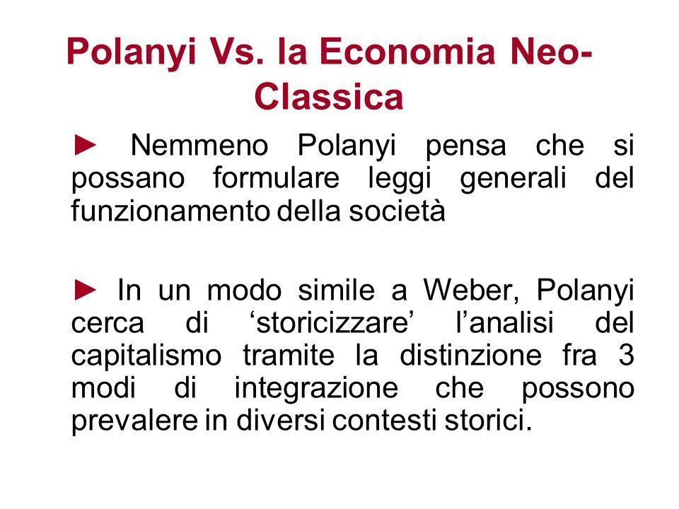 Polanyi Vs. la Economia Neo- Classica Nemmeno Polanyi pensa che si possano formulare leggi generali del funzionamento della società In un modo simile
