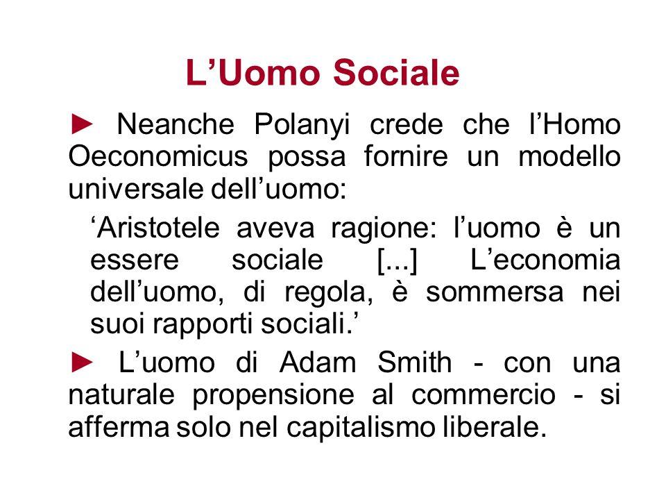 LUomo Sociale Neanche Polanyi crede che lHomo Oeconomicus possa fornire un modello universale delluomo: Aristotele aveva ragione: luomo è un essere so