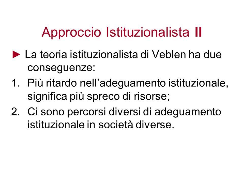 Approccio Istituzionalista II La teoria istituzionalista di Veblen ha due conseguenze: 1.Più ritardo nelladeguamento istituzionale, significa più spreco di risorse; 2.Ci sono percorsi diversi di adeguamento istituzionale in società diverse.