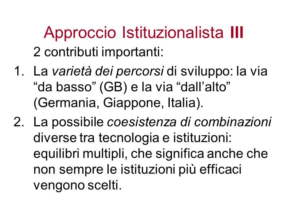 Approccio Istituzionalista III 2 contributi importanti: 1.La varietà dei percorsi di sviluppo: la via da basso (GB) e la via dallalto (Germania, Giapp