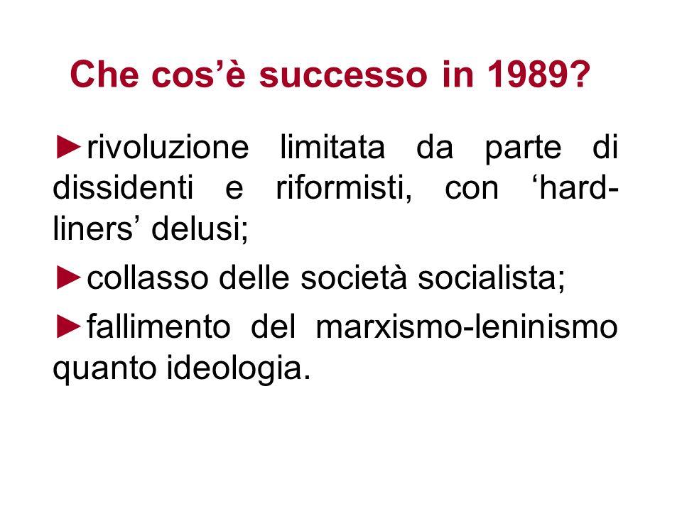 Che cosè successo in 1989? rivoluzione limitata da parte di dissidenti e riformisti, con hard- liners delusi; collasso delle società socialista; falli