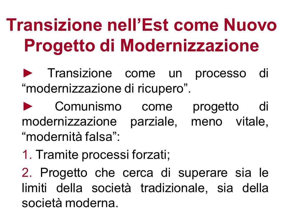 La Modernizzazione come Correzione Se vediamo il comunismo come aberrazione o deviazione, la transizione è una correzione, un ritorno alla società moderna, normale.