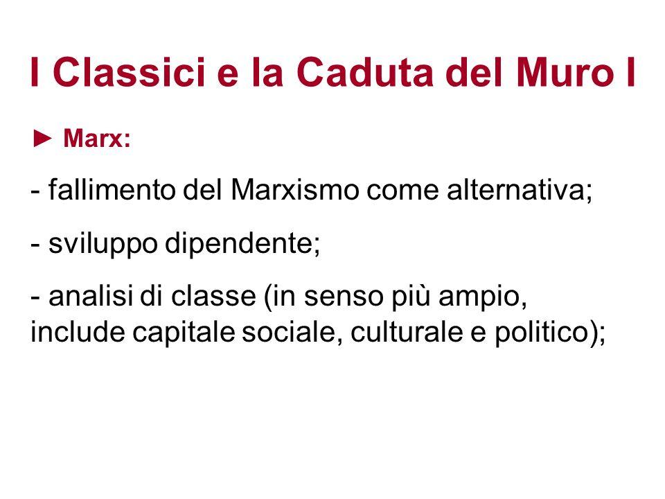 I Classici e la Caduta del Muro I Marx: - fallimento del Marxismo come alternativa; - sviluppo dipendente; - analisi di classe (in senso più ampio, in