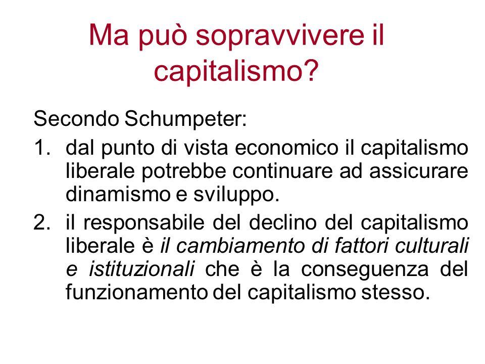 Ma può sopravvivere il capitalismo? Secondo Schumpeter: 1.dal punto di vista economico il capitalismo liberale potrebbe continuare ad assicurare dinam