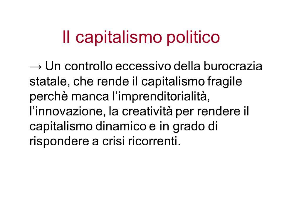 Il capitalismo politico Un controllo eccessivo della burocrazia statale, che rende il capitalismo fragile perchè manca limprenditorialità, linnovazion