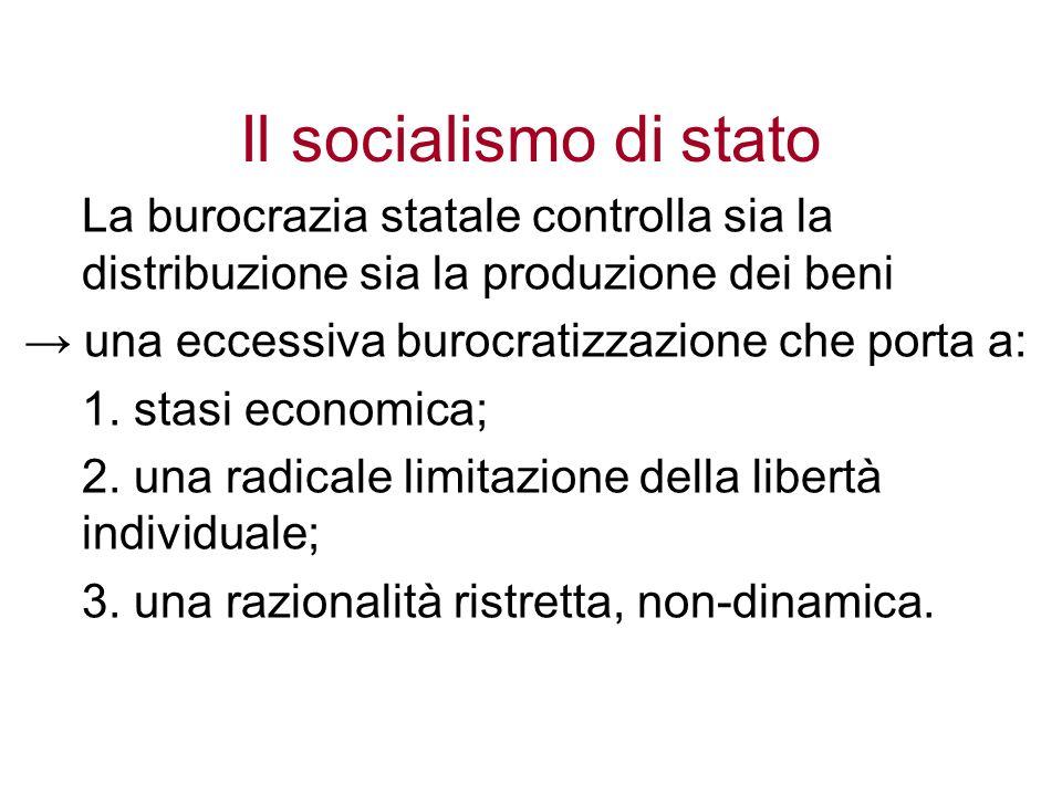 Il socialismo di stato La burocrazia statale controlla sia la distribuzione sia la produzione dei beni una eccessiva burocratizzazione che porta a: 1.