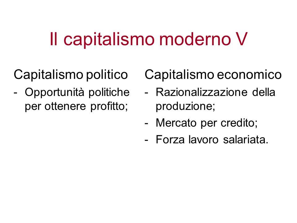 Il capitalismo moderno V Capitalismo politico -Opportunità politiche per ottenere profitto; Capitalismo economico -Razionalizzazione della produzione;