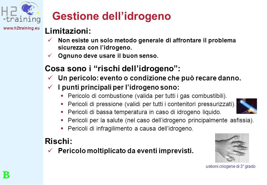 www.h2training.eu Gestione dellidrogeno Limitazioni: Non esiste un solo metodo generale di affrontare il problema sicurezza con lidrogeno. Ognuno deve