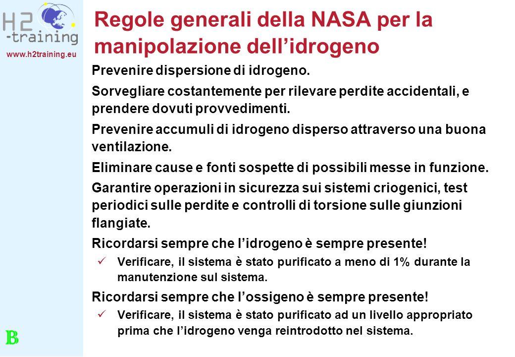 www.h2training.eu Regole generali della NASA per la manipolazione dellidrogeno Prevenire dispersione di idrogeno. Sorvegliare costantemente per rileva