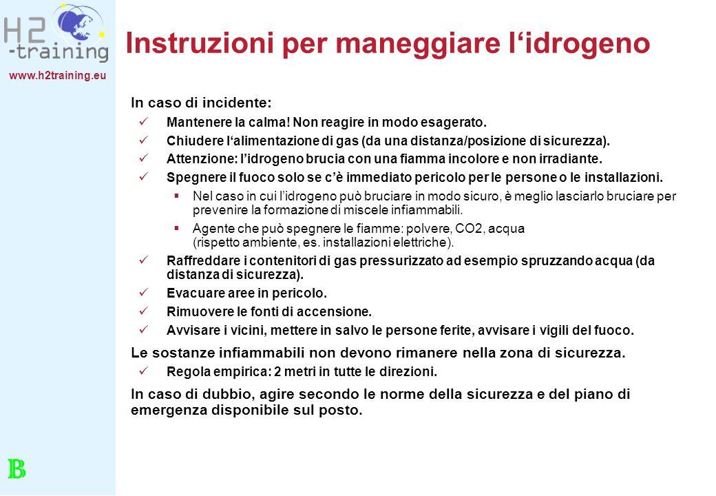 www.h2training.eu Instruzioni per maneggiare lidrogeno In caso di incidente: Mantenere la calma! Non reagire in modo esagerato. Chiudere lalimentazion