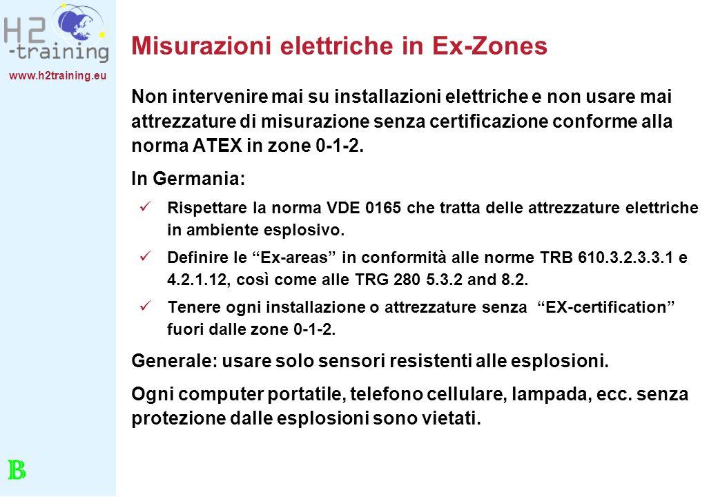 www.h2training.eu Misurazioni elettriche in Ex-Zones Non intervenire mai su installazioni elettriche e non usare mai attrezzature di misurazione senza