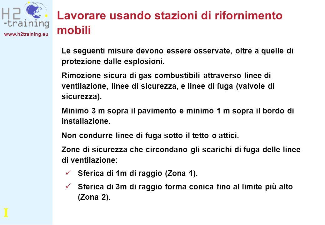 www.h2training.eu Lavorare usando stazioni di rifornimento mobili Le seguenti misure devono essere osservate, oltre a quelle di protezione dalle esplo