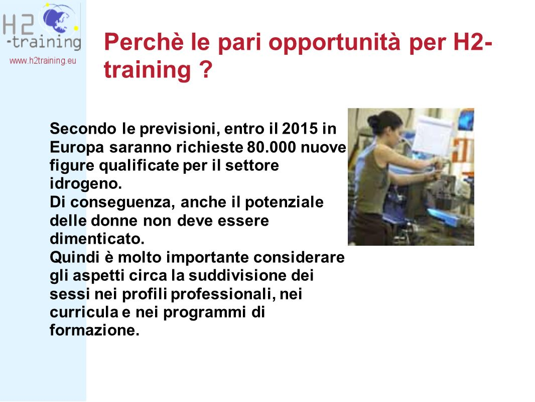 Perchè le pari opportunità per H2- training .