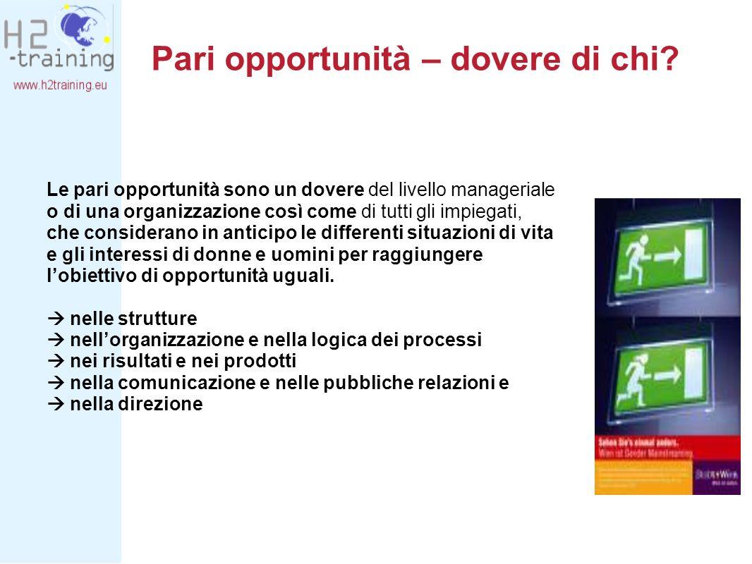 Pari opportunità – dovere di chi? Le pari opportunità sono un dovere del livello manageriale o di una organizzazione così come di tutti gli impiegati,