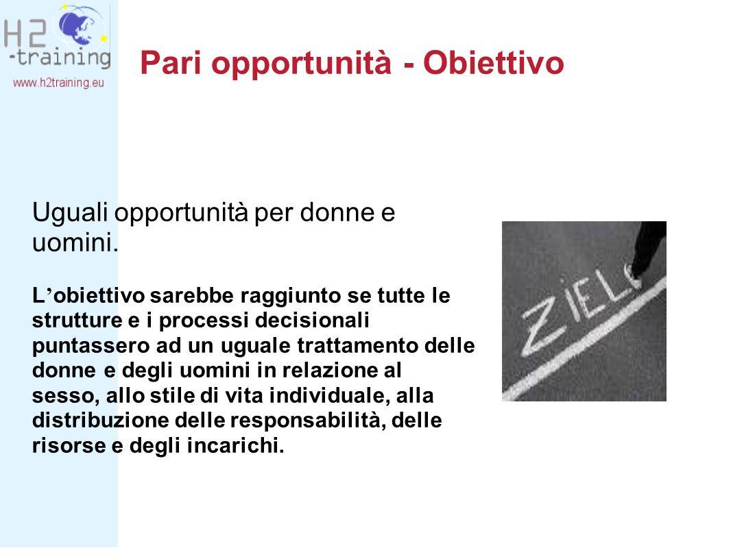 Pari opportunità - Obiettivo Uguali opportunità per donne e uomini. L obiettivo sarebbe raggiunto se tutte le strutture e i processi decisionali punta