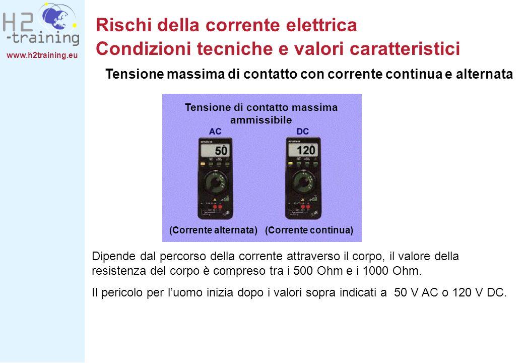 www.h2training.eu Dipende dal percorso della corrente attraverso il corpo, il valore della resistenza del corpo è compreso tra i 500 Ohm e i 1000 Ohm.