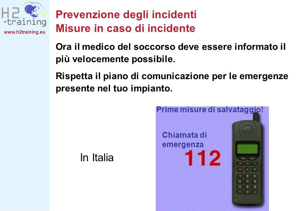 www.h2training.eu Ora il medico del soccorso deve essere informato il più velocemente possibile. Rispetta il piano di comunicazione per le emergenze p