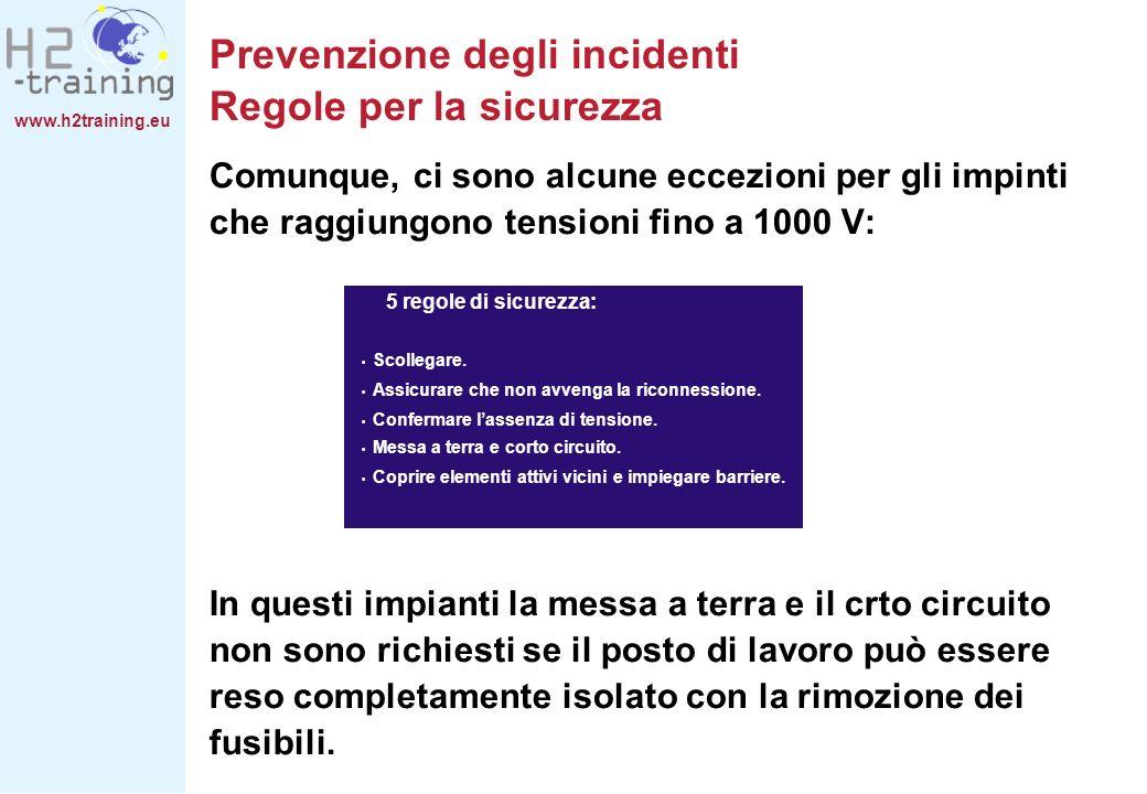 www.h2training.eu Prevenzione degli incidenti Regole per la sicurezza Comunque, ci sono alcune eccezioni per gli impinti che raggiungono tensioni fino