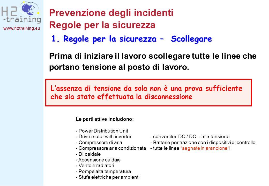 www.h2training.eu Prevenzione degli incidenti Regole per la sicurezza Prima di iniziare il lavoro scollegare tutte le linee che portano tensione al po