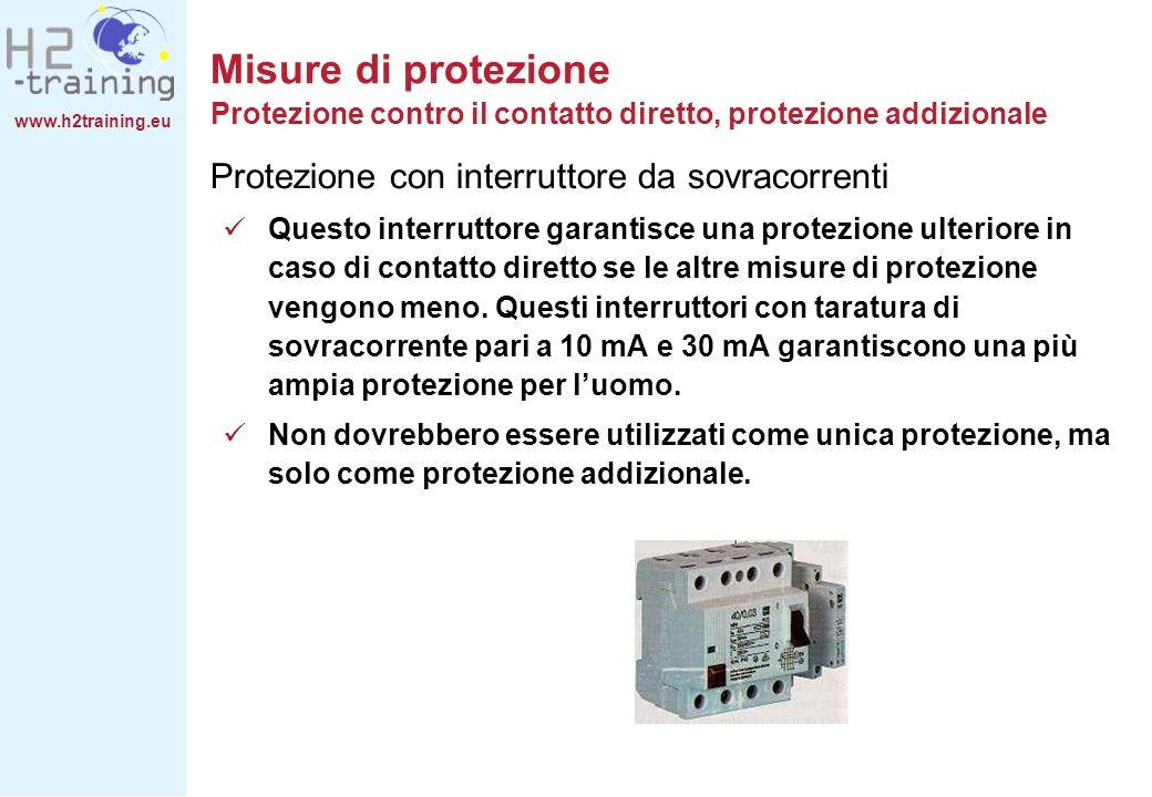www.h2training.eu Protezione con interruttore da sovracorrenti Questo interruttore garantisce una protezione ulteriore in caso di contatto diretto se