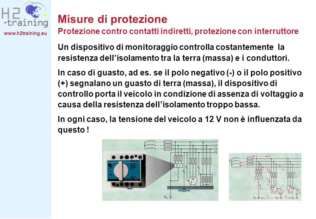 www.h2training.eu Un dispositivo di monitoraggio controlla costantemente la resistenza dellisolamento tra la terra (massa) e i conduttori. In caso di