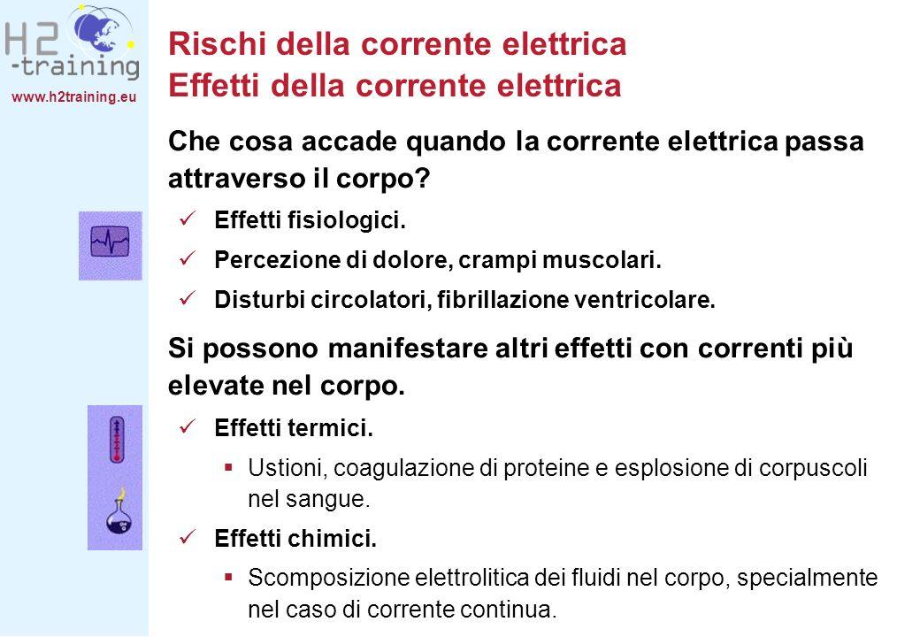 www.h2training.eu Prevenzione degli incidenti Misure in caso di incidente A seconda dellamperaggio, gli incidenti elettrici provocano: Prima dellarrivo dei soccorsi devono essere assunte alcuni primi provvedimenti.